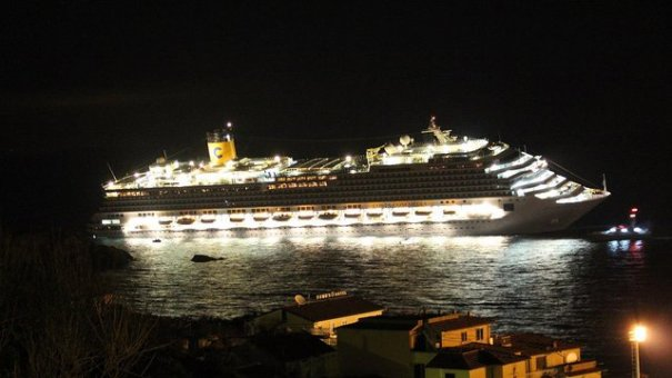 Costa Concordia clearly in trouble off the coast of Giglio
