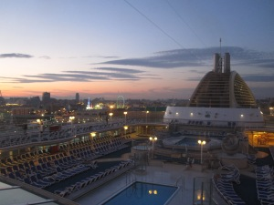 A dusk view across Valencia from the Pennant Bar