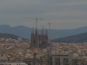Sagrada Familia towers above the Barcelona sykline