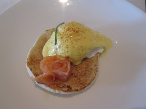 Poached Eggs Hollandaise with Smoked Salmon on a Warm Muffin