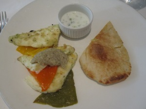 Grilled Marinated Halloumi Cheese with Flat Breads, Baked Peppers, Aubergine Caviar and Tzatziki Dressing