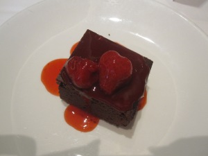 Warm Chocolate Brownie with Strawberry Compote*