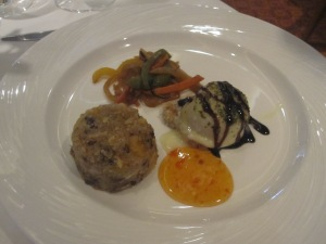 Baked Goat's Cheese on Walnut Bread with Fruit and Nut Quinoa and Stir-Fried Vegetables