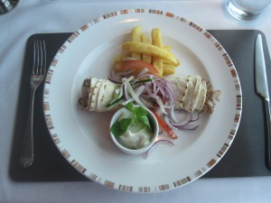 Cuban Pulled Lamb Tortilla Wrap. With Caramelised Onion, Fries and Minted Mayonnaise.