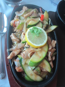 Beach House Sizzler - Chicken and King Prawn with extra Zucchini. Served with Rice or Chips