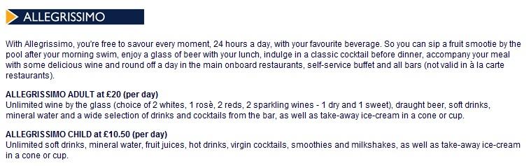 MSC Cruises Allegrissimo Drinks Package | CruiseMiss Cruise Blog