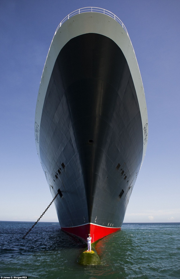 Queen Mary 2 Bulbous Bow Captain Oprey