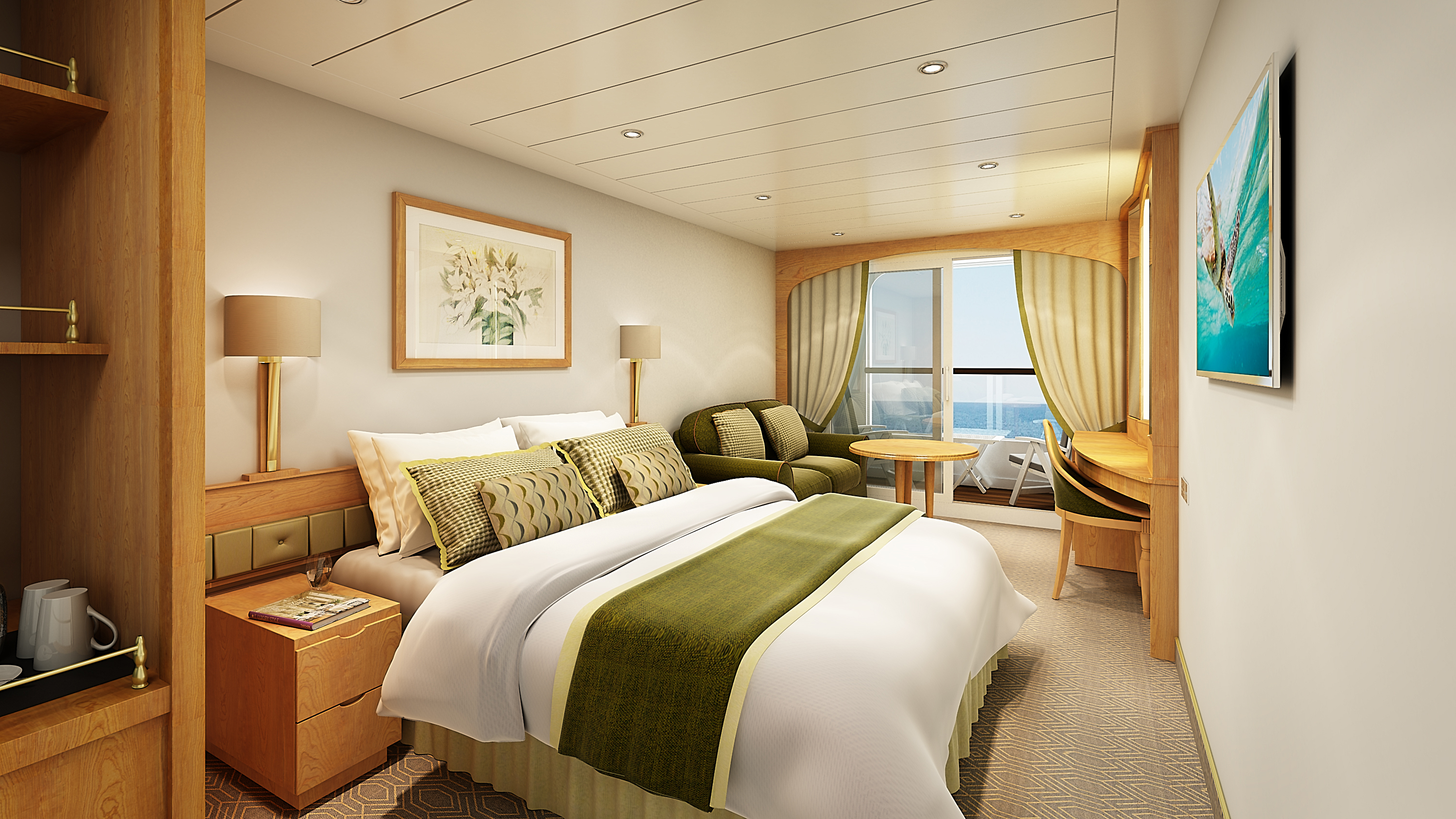 A glimpse inside the new look p o cruises aurora photo for Balcony on cruise ship