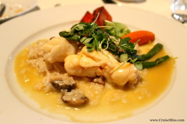 Sautéed lobster tail in Chardonnay butter sauce with creamy field mushrooms and Pilaf rice.