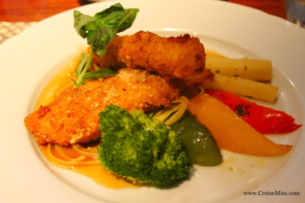 Chicken breast 'Parmigiana' with linguine and salsify