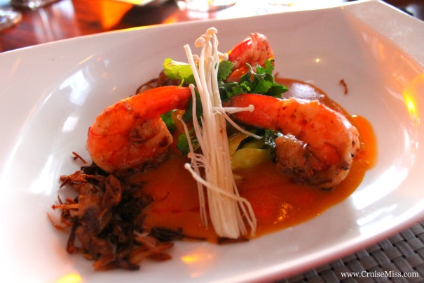 Tiger prawns infused with  Galangal, curry-coconut milk - East to West