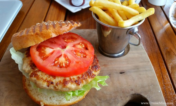 Turkey Burger (cooked to order) from the Beach Club