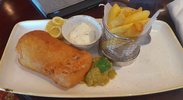 Fish and chips from the Golden Lion Pub