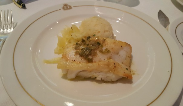 Pan-seared Orange Roughy with creamed parsley potatoes and wilted spinach.