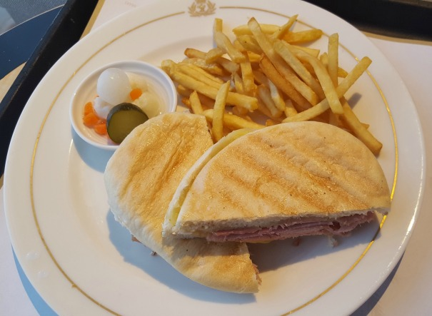 Ham and cheese panini from the room service menu