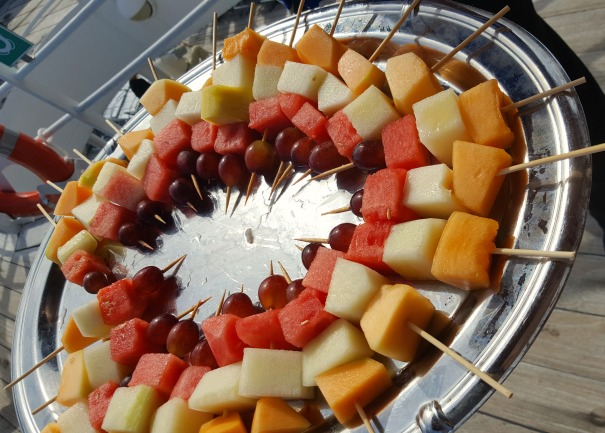 Fresh fruit served on the open deck to cool us down - I thought this was a nice touch.